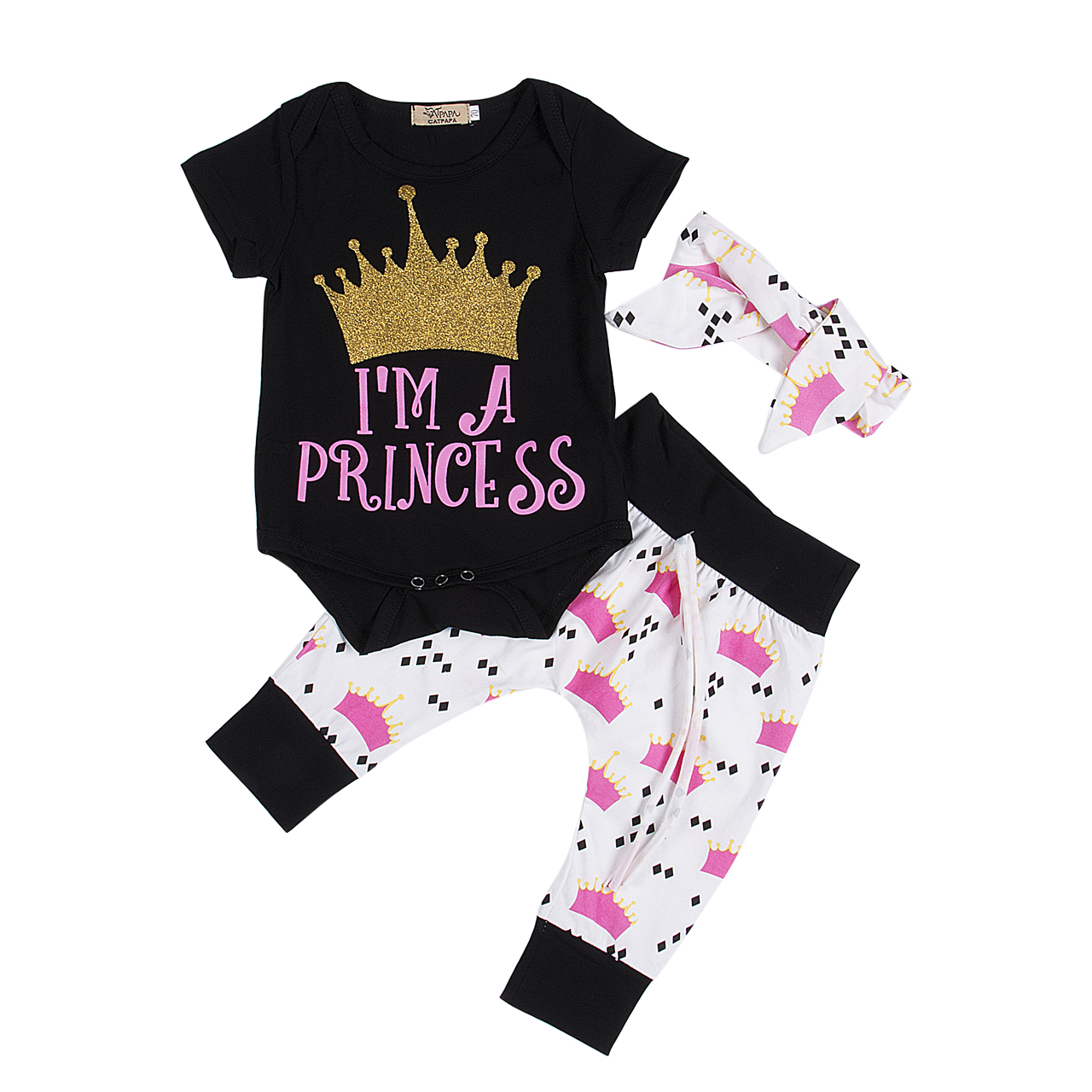 Emmababy Hot 3pcs Crown Baby Clothes Set Infant Toddler Kids Baby Girls Crown short sleeve Rompers Pants Leggings Outfits Set image