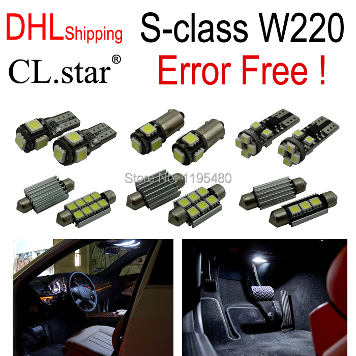 24pc X Error free LED Interior Light Kit Package For Mercedes-Benz S-class W220 (1999-2005) with DHL shipping auto fuel filter 163 477 0201 163 477 0701 for mercedes benz