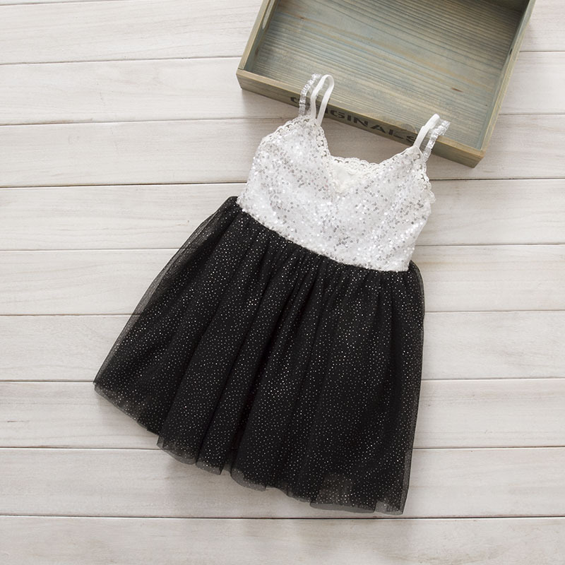 2015 Kids Girls Crochet Lace Tulle Sequins Party Dresses Baby Girl