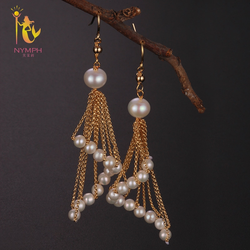 [NYMPH] Long Tassel Pearl Earrings for Women Fine Jewelry Round Natural Pearl Drop Earrings Trendy Birthday Gift Sector E313 nobuer 14kgf handmade pearl drop earrings trendy women long earrings jewelry white round pearl drop earrings hanging to a party