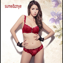 Women Sexy Bra Set Ultra-thin Red Lace Bra Brief Sets Plus size Brassiere Push up Bra and Panties Female Underwear bra Set 9168Y