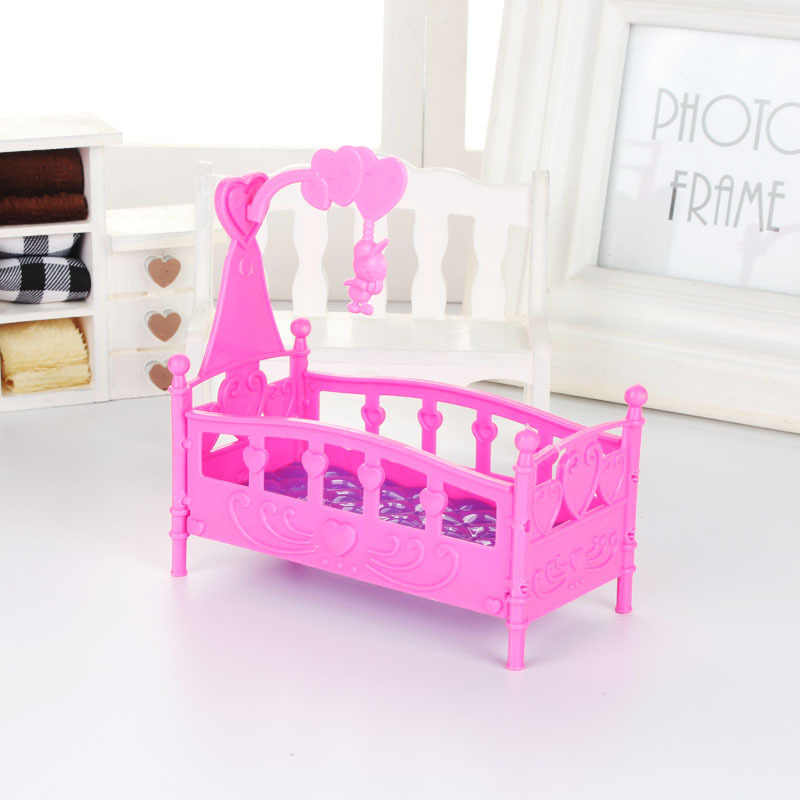 1pcs  Fashion Plastic Bed Bedroom Furniture For 1/6 Dolls Dollhouse Pink Yellow Or Purple Girl Birthday Gift