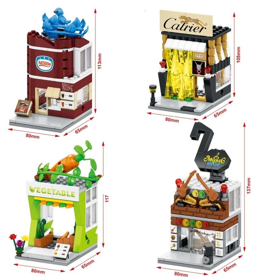SEMBO Blocks Mini Shop DIY Building Bricks Micro street Store 3D Architecture Educational Kids toys Girls Gifts SD6054-SD6057 sembo blocks mini store diy building bricks micro street shop 3d auction model with lighting kids toys girls gift sd6500 sd6507