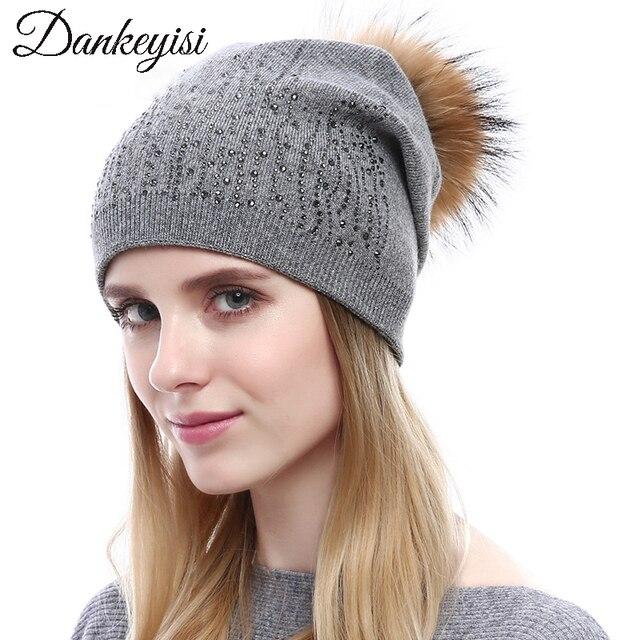 d877e4d7f313e DANKEYISI Winter Women Beanies with Rhinestone Pompon Fur Hats Fashion  Natural Raccoon Fur Caps Female Warm