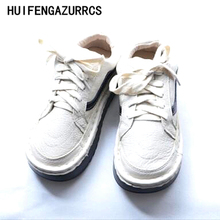 HUIFENGAZURRCS-In the spring of new Genuine leather Sen female literary thick bottom shoes handmade round head leisure shoes