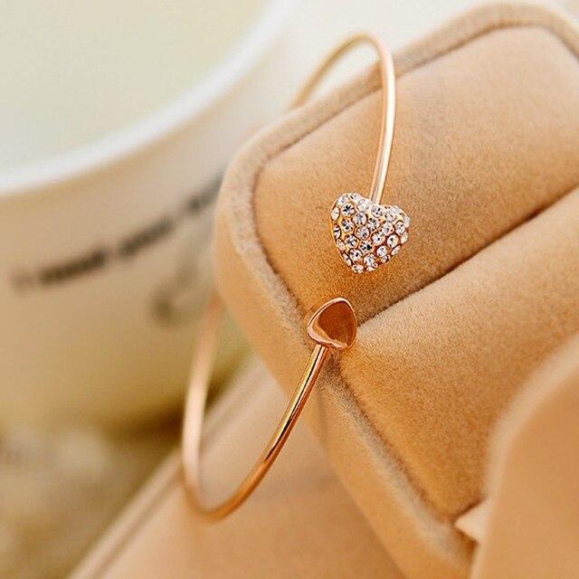Сердце браслет серебро золотой цвет кристалл любовь цвета золота браслет кристалл браслеты и браслеты