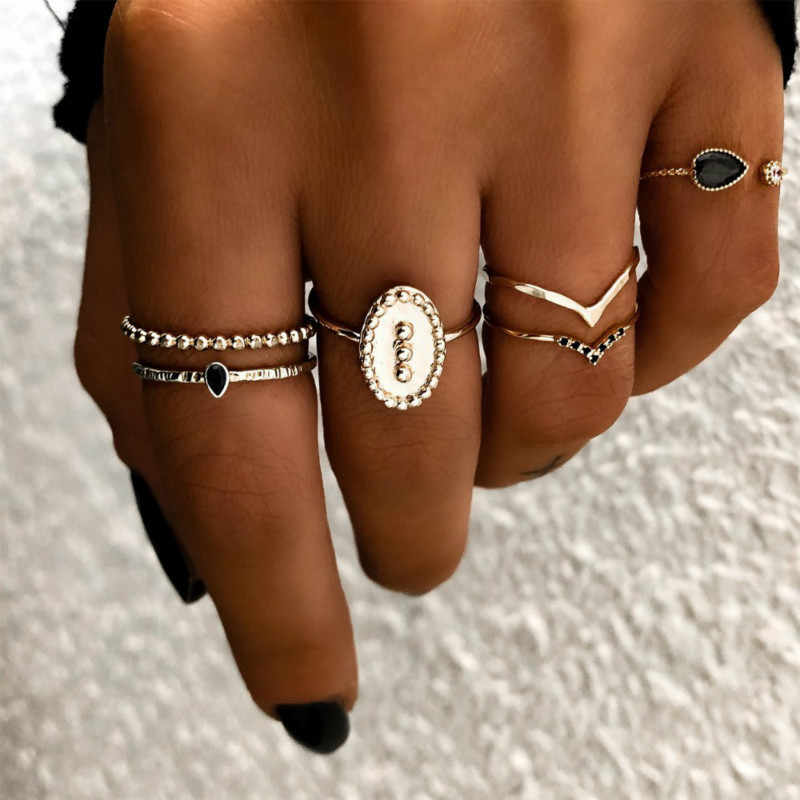 2019 Fashion Women Rings Sets Metal Gold Color Crystal Geometric Boho Knuckle Midi Ring Sets For Women Jewelry Gift