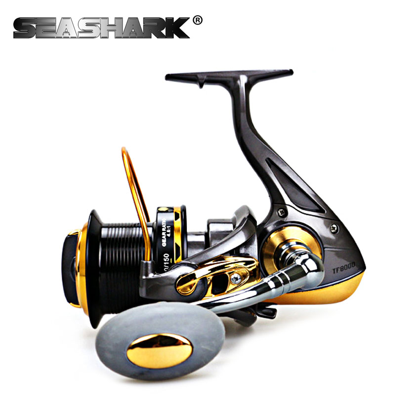 SEASHARK Sea Fishing Spinning Reel with Metal Spool 13BB 8000 9000 Gear ratio 4.6:1 Saltwater Carp Fishing Reel mikado ace carp 10007 6 1подш gear ratio 4 7 1 сист своб хода