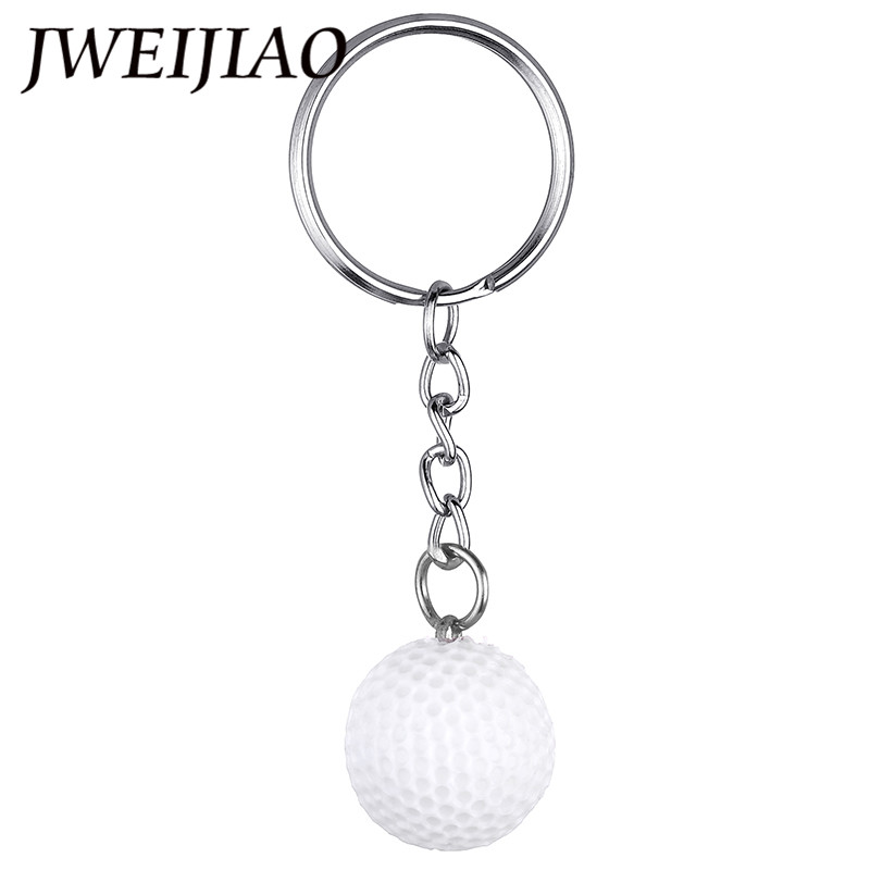 JWEIJIAO 2018 New Arrival Sports Metal Resin Charms Keychain Car Key Chain Key Ring Golf Ball Pendant Keyring For Souvenir DS36