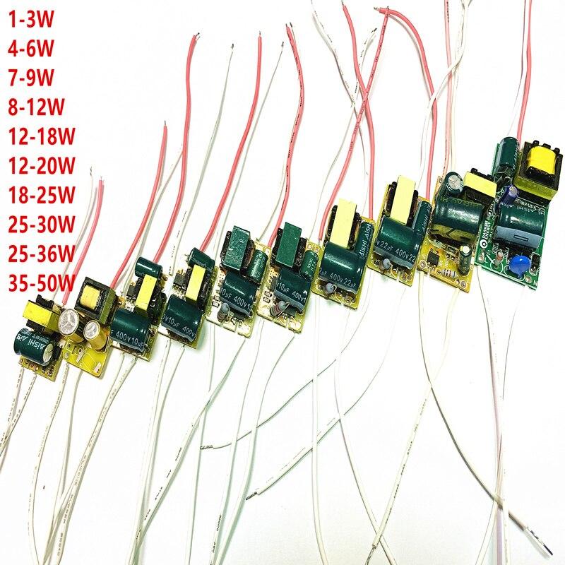 1-3W 4-6W 7-9W 8-18W 12-20W 18-25W 20-30W 35-50W LED Driver Power Supply Built-in Constant Current Lighting 85-265V  Transformer