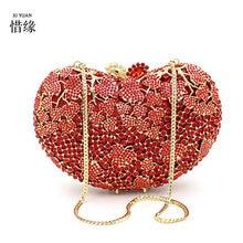 XIYUAN whiteblackredhot pinksilvergreen heart shape Evening Bags Clutch Handbags Chain Shoulder Bag For Bridal Party gifts