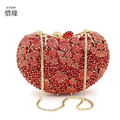 XIYUAN BRAND 2017 Bridal metal Heart Shape Evening Bag Women Peach Heart Diamond Day Clutch Purse Wedding Messenger Bag Handbag