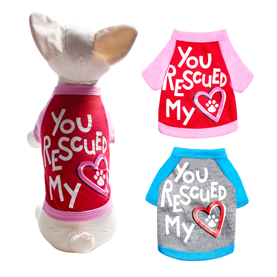 Dog T Shirt Letter Heart Printed Raglan Cotton Thin Spring Summer Dog Clothes Color Matching Puppy Clothes Cat Shirt Size Xs-L