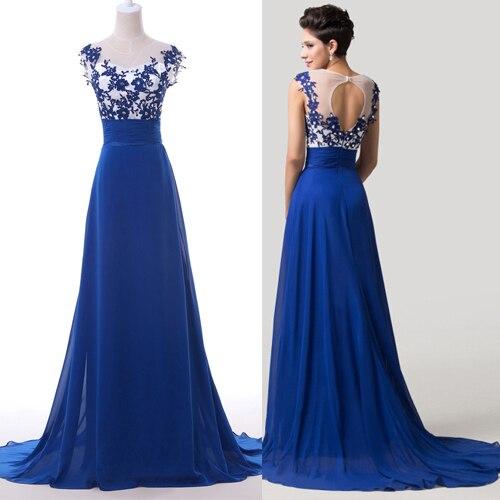 Vestido azul de renda longo