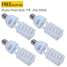 Фотография new photographic equipment 4PCS Pro E27 220V 45W 5500K Photo Video Bulb Photography Studio Light Lamp Freeshipping&Wholesale