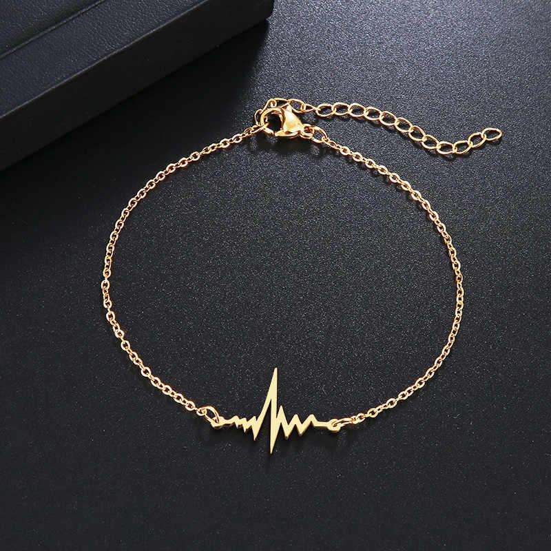 Bracelet en acier inoxydable DOTIFI pour femme couleur or et argent en forme d'ecg Pulseira Feminina bijoux de fiançailles amoureux