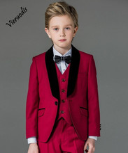 Page Boy Flower Boys Wedding Suits Kids Groom Tuxedos Children Suits Party 4pcs Suits pink boys suits groom wedding tuxedos page boy formal prom 2 piece kids suits