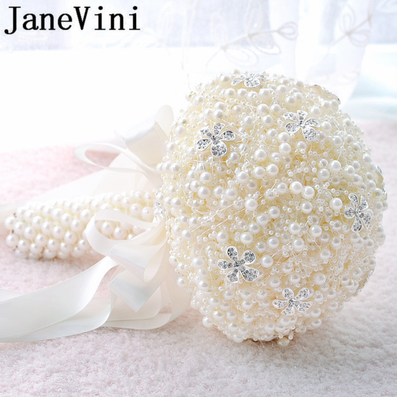 JaneVini Sparkly Rhinestone Wedding Bouquet De Mariage White Rose Wedding Flowers for Bride Bridesmaid Red Bouquet Accessories in Wedding Bouquets from Weddings Events