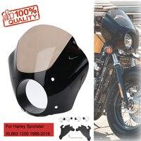 Custom For Harley Sportster XL 883 1200 Iron 1986 2016 Gauntlet Headlight Fairing Mask With Trigger