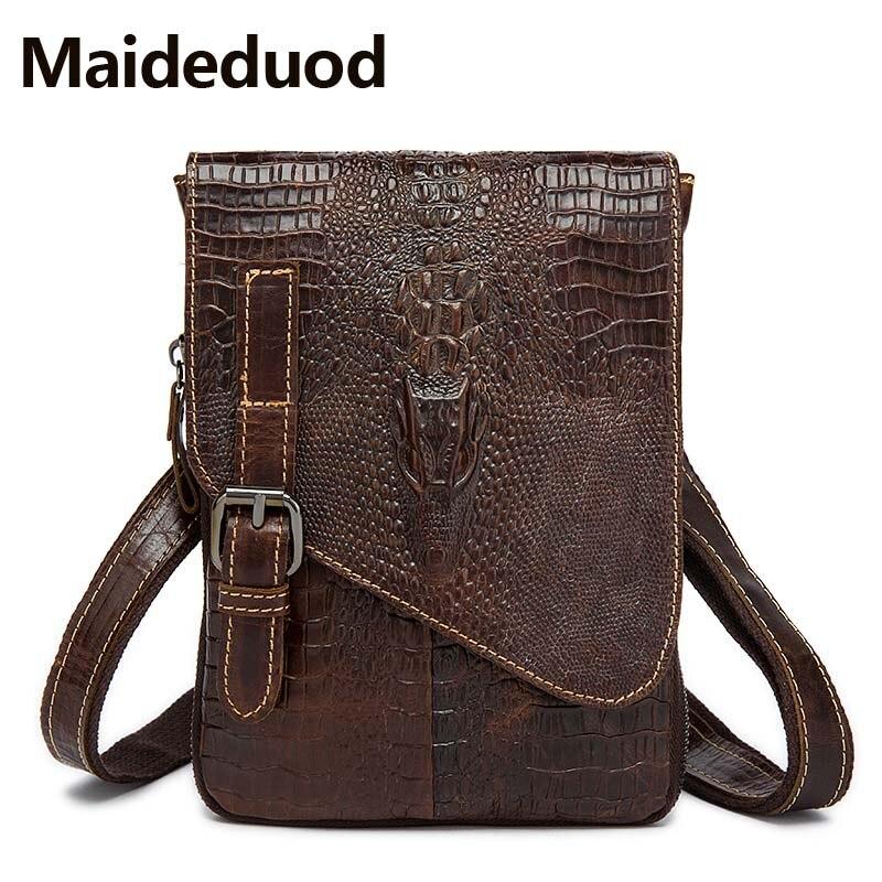 Maideduod Genuine Leather Shoulder Bag Crocodile Pattern Men Messenger Casual Leather Men' s Bag Designer Handbags High Quality