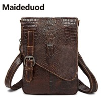 Maideduod Genuine Leather Shoulder Bag Crocodile Pattern Men Messenger Casual Leather Men' s Bag Designer Handbags High Quality