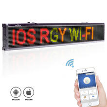 101cm Multi-color ios - Android Wifi LED sign wireless and usb programmable rolling information P7.62 indoor led display screen