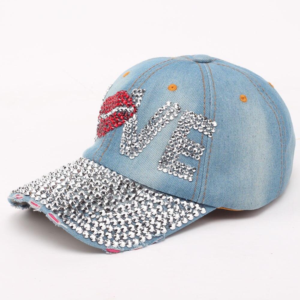 Sunspa жан шапки женщины горный хрусталь бейсболки регулируемая casquette шляпы горный хрусталь жан snapback caps denim любовь pattern hat