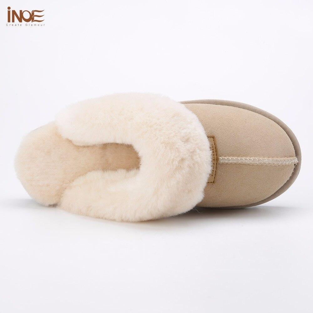 INOE classic mujer piel de oveja real Piel de lana forrado zapatillas de invierno zapatos para el hogar babuino en Casa Alta Calidad 35  44-in Zapatillas from zapatos    3
