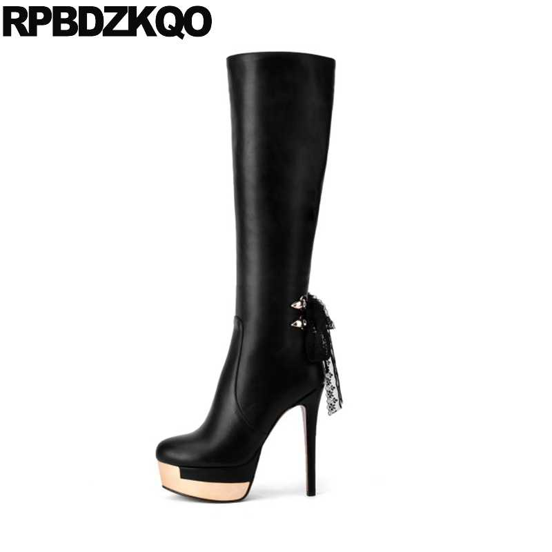 1109e794b832 Sexy Gothic Platform Boots Punk Ladies Knee High Embellished Metal Fetish Shoes  Black Lace Stiletto Heel
