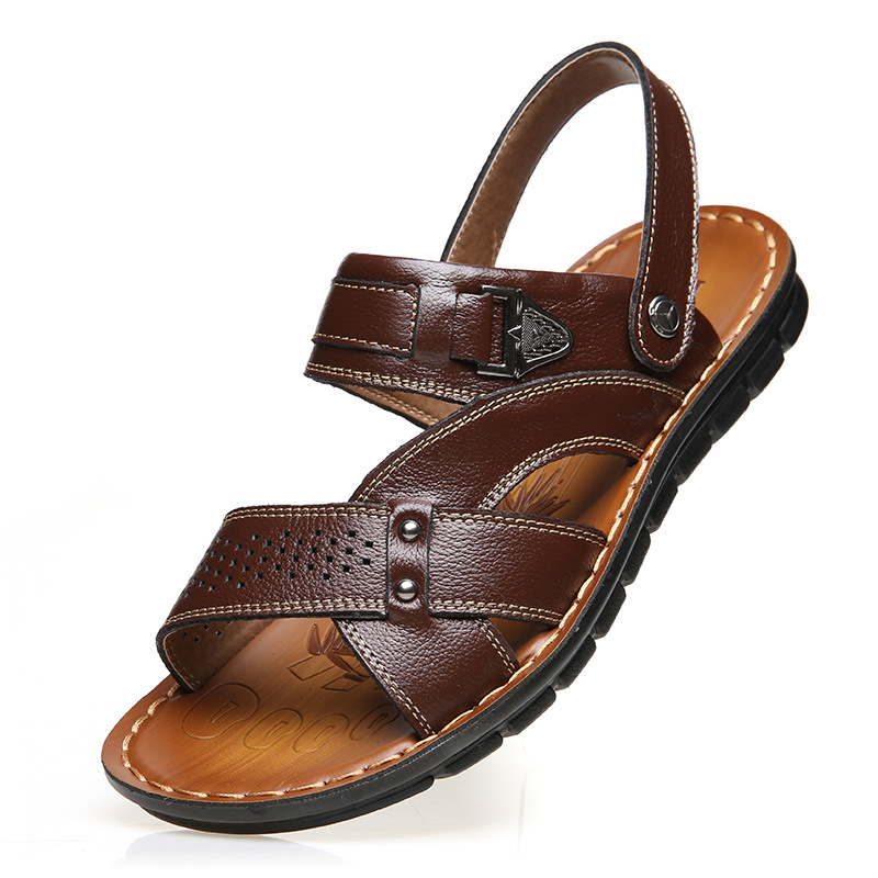 Genuine Leather Thick Men Sandals Breathable Comfortable Male Outdoor Beach Slippers Casual Flip Flops Shoes Zapatos Hombre