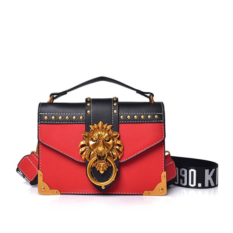 RED NEW in! Metal Lion Head Mini Small Wallet Handbag