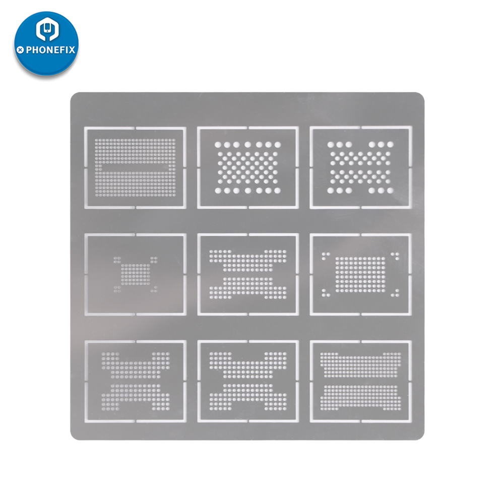 DIYPHONE 0.2MM 9 In 1 BGA Reballing Stencil Dedicate Kit Soldering Template For BGA136 BGA152 LGA52 LGA60 BGA316 BGA272