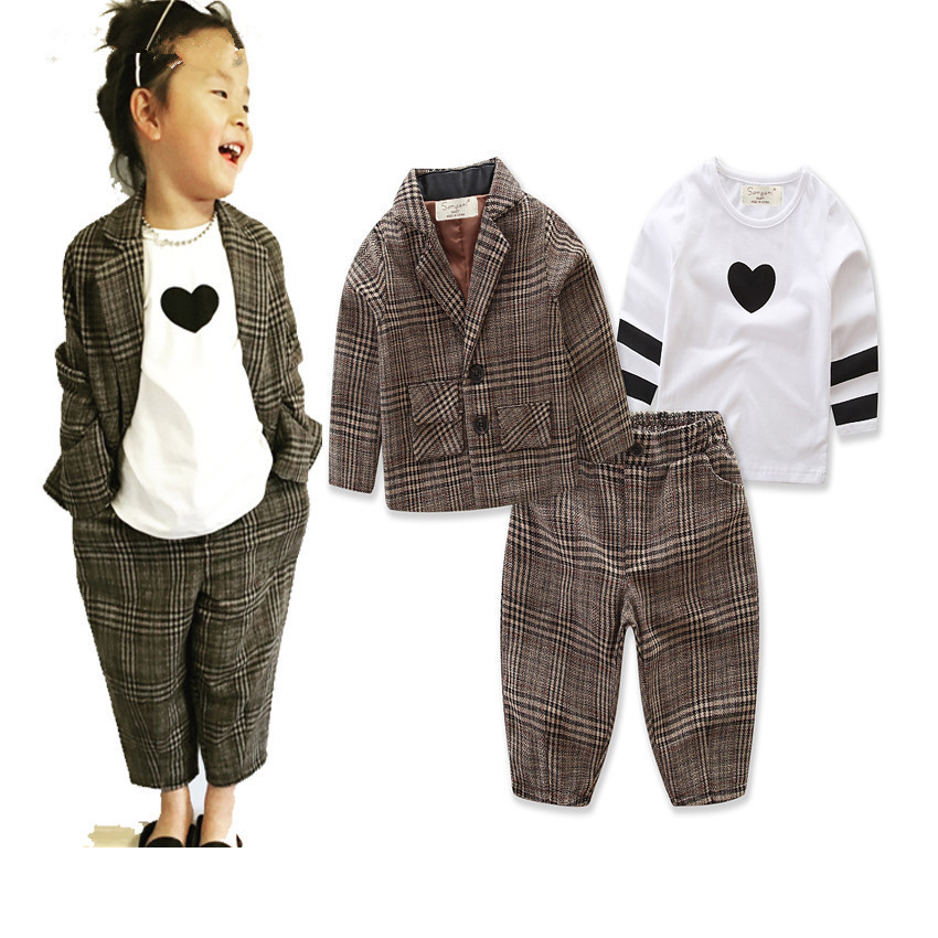 Fashion baby boys long sleeve love t shirt +jacket +plaid trousers 3pcs set  kids casual clothes gentleman party wear 17A801  2017 new arrival 3pcs baby boys long sleeve t shirt tops braces trousers clothes fashion kids outfits set for 1 6y