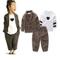Fashion Baby Boys Long Sleeve Love T Shirt Jacket Plaid Trousers 3pcs Set Kids Casual Clothes