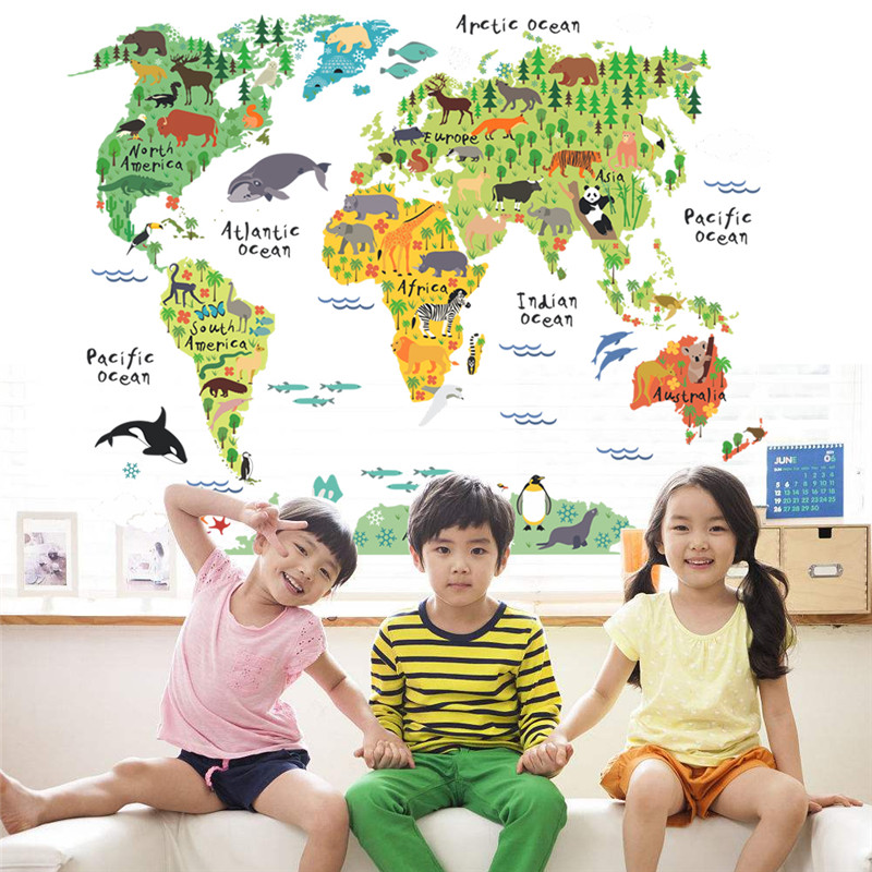 ISABEL tube animal world map wall stickers living room Bedroom Office font b home b font