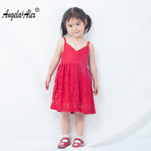 ФОТО angela&alex 2017 summer  new baby girls lace sleeveless dress children fashion  clothes party  unique v-neck  gift dress