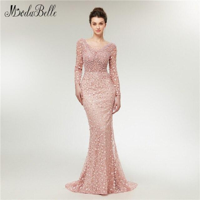 modabelle Fashionable Embroidery Flower Evening Dresses With Pearls 2018 damen lange abendkleid Mermaid Formal Dress Long Sleeve