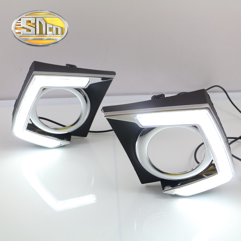 SNCN LED Daytime Running Light For Mitsubishi Triton L200 2015 2016,Car Accessories Waterproof ABS 12V DRL Fog Lamp Decoration ветровики prestige mitsubishi l200 triton strada 99 06
