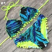 Bikini Set 2018 Sexy Double Sided Printed Pendant Ball Swimsuit Reversible Bandage Ruffle Bottom Halter Swimwear