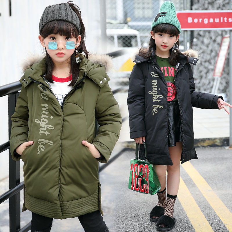 Girl 2017 new Korean long thick jacket winter for size 8 9 10 11 12 13 14 years child tide coat casual fashion outerwear children cowboy jacket coat hooded 2017 winter new tide thick cashmere long outerwear size 4 5 6 7 8 9 10 11 12 13 years girl