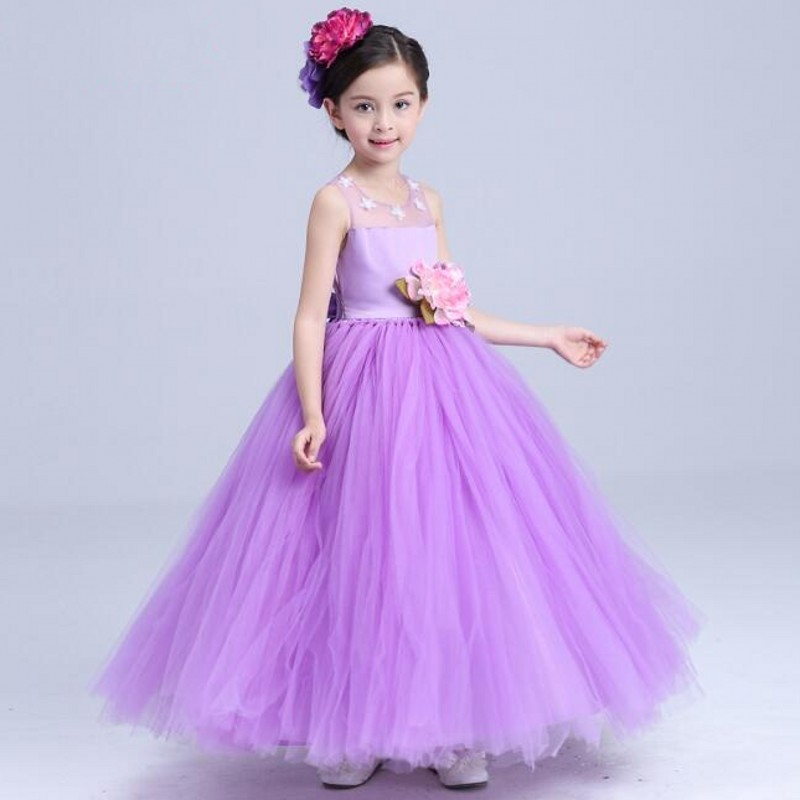 Púrpura Vestido de Niña de las Flores de Pétalos Vestido de Los ...