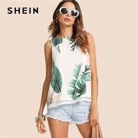 SHEIN Bohemian Vacation Multicolor Women Tank Top Streetwear Tropical Print High Low Round Neck Boho 2018