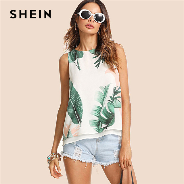 SHEIN Bohemian Vacation Multicolor Women Tank Top Streetwear Tropical Print High Low Round Neck Boho Summer Top