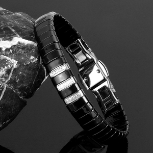 Image 2 - Nieuwe Mode Black Charm Armband Keramische Rvs Crystal Link Armbanden Voor Vrouwen Zilver Kleur Mode sieraden Geschenken