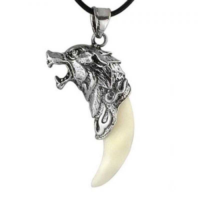 FUNIQUE Necklace  Men's Wolf Tooth Steel Pendant Necklaces For Men Clavicle Rope Male Necklace Choker Domineering Jewelry