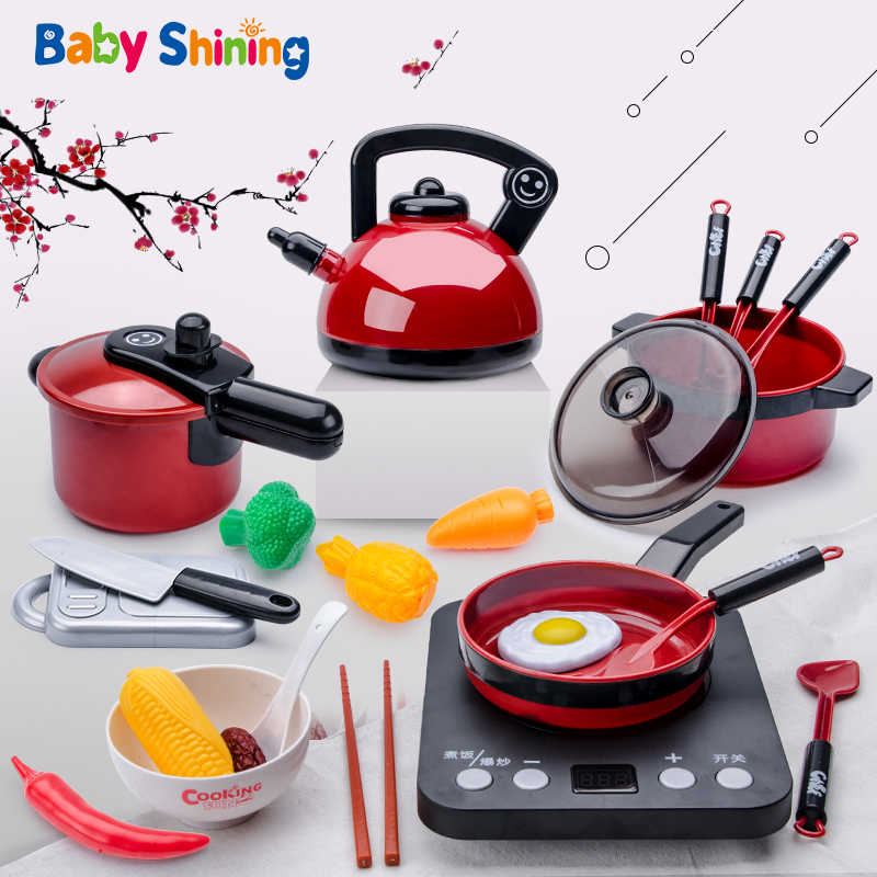 Baby Shining Kids Kitchen Toys Pretend Play Kitchen for Children Toddler Toys 2-6 Year Old Baby Gift Puzzle