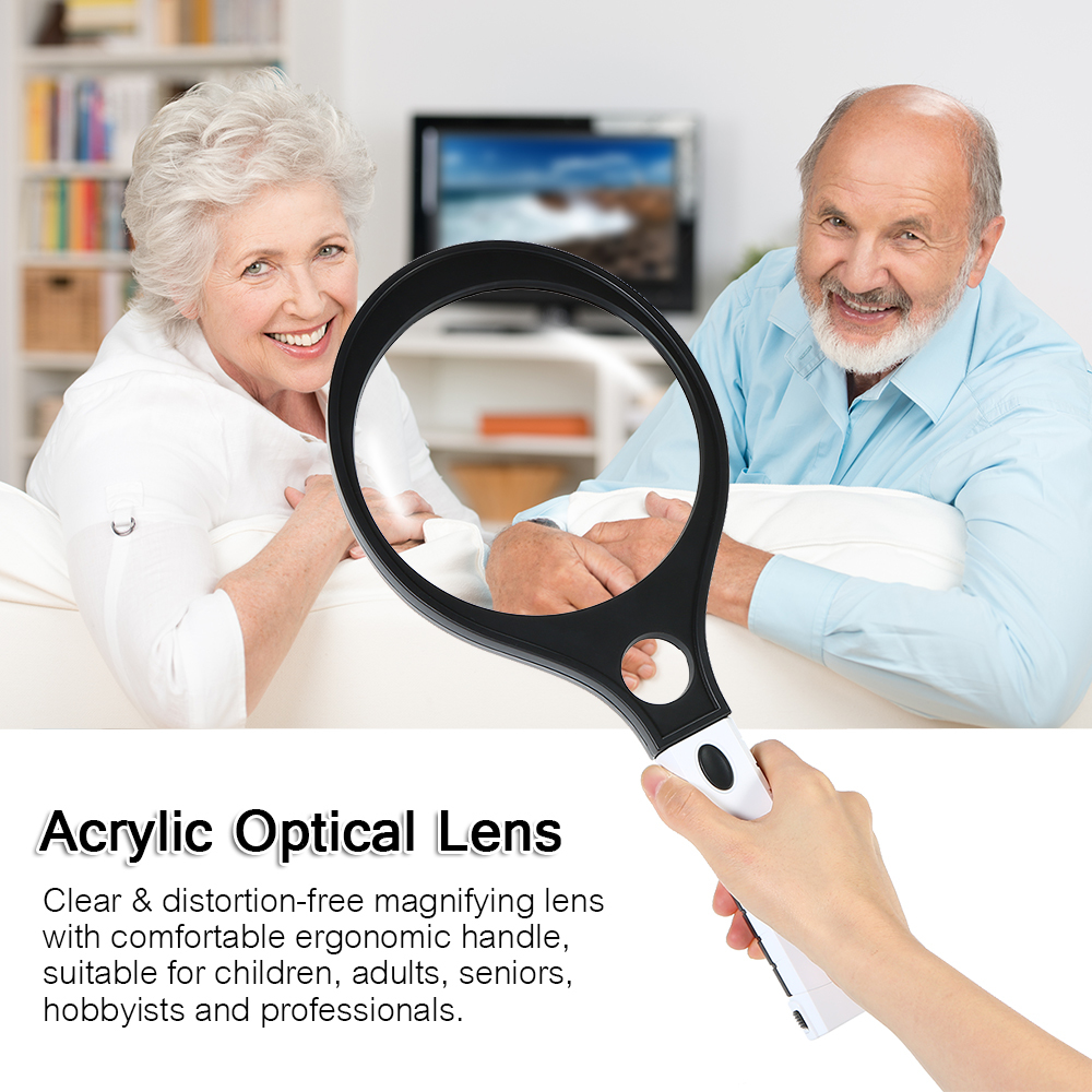 Handheld Magnification Reading Magnifier 4X Lenses,Reading HD Optical Enlargement Mirror for The Elderly Black