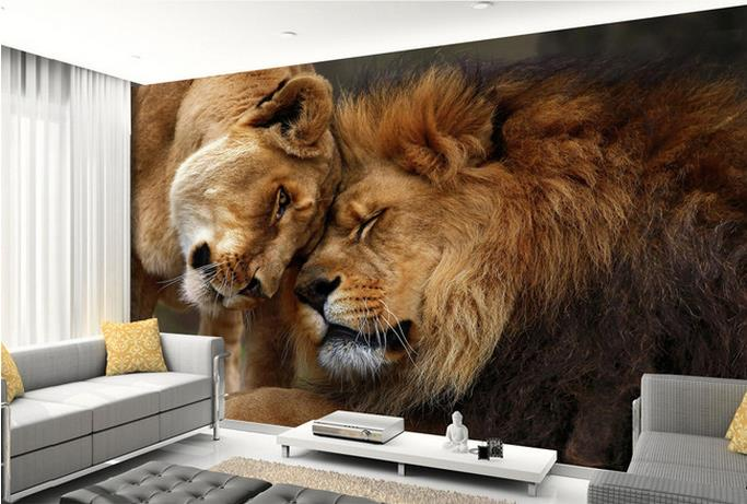 Photo wallpaper hd 3d domineering lion animal photography - Wallpaper one wall in living room ...