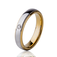Free Shipping 4MM Women S Tungsten Carbide Ring Wedding Band WIth CZ Inlay Sizes 4 8