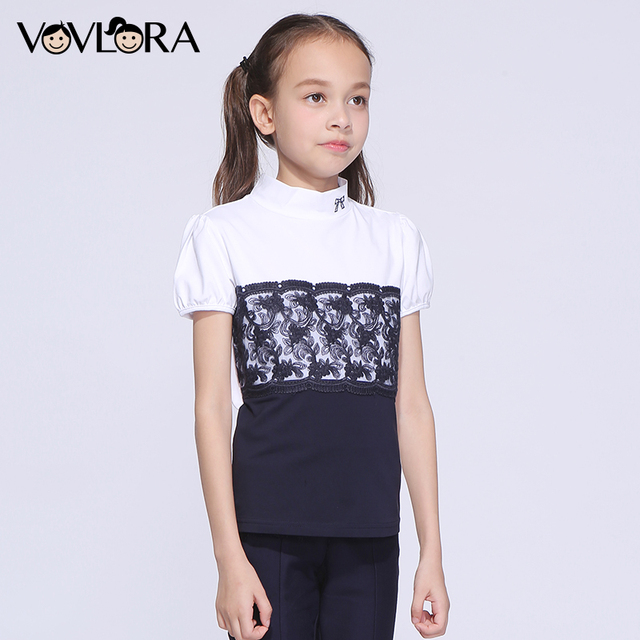 T shirt Kids Cotton Patchwork Lace Girls T shirts Tops Turtleneck Knitted Summer School Clothes 2018 Size 9 10 11 12 13 14 Years